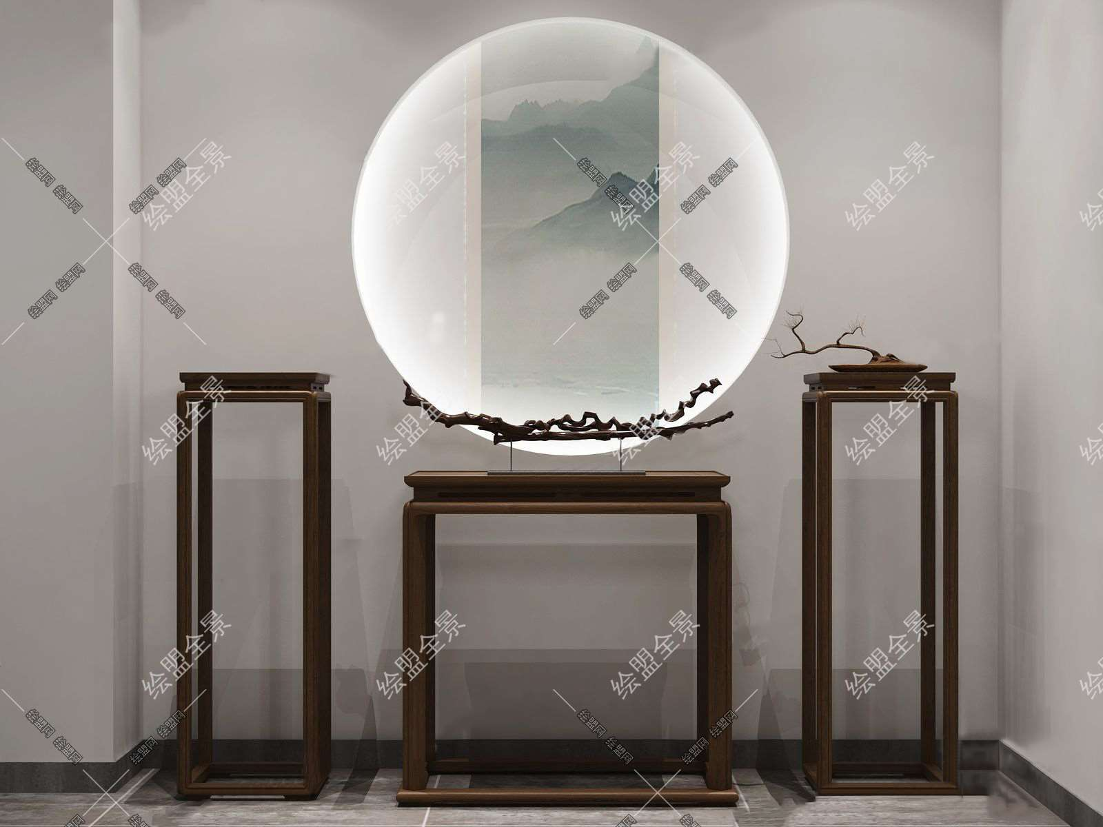 新中式端景台花架组合